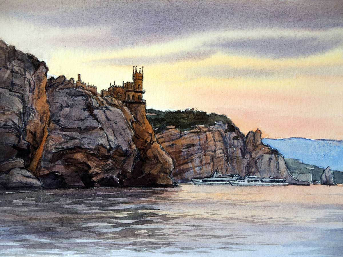 Swallow's Nest Castle From The Sea. Etude